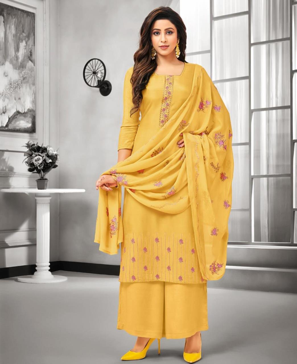 Embroidered Satin Yellow Palazzo Suit Salwar