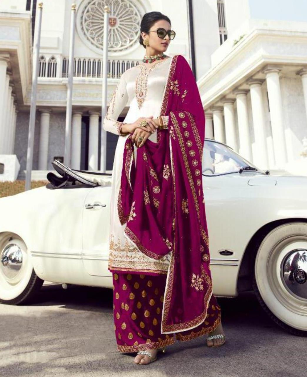 Georgette Straight cut Salwar Kameez in White