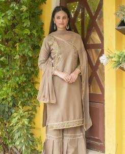 Thread Silk Straight cut Salwar Kameez in Sepia