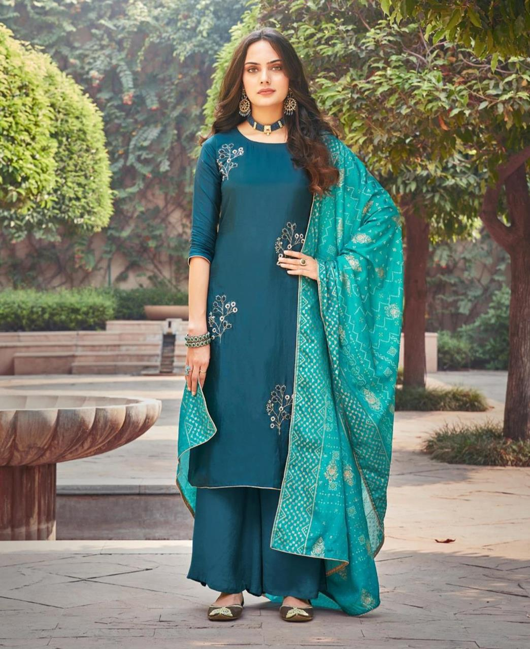 Thread Silk Straight cut Salwar Kameez in Teal Blue