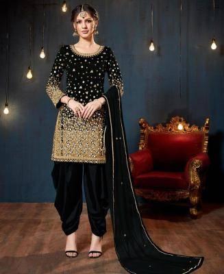 Stone Work Silk Black Patiyala Suit Salwar