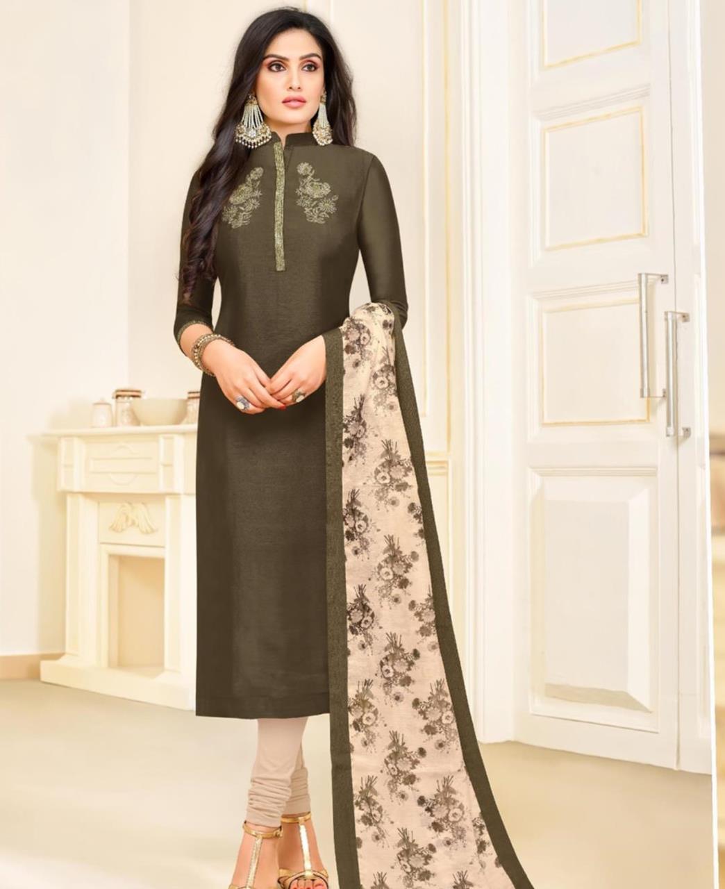 Embroidered Silk OLIVE Straight Cut Salwar