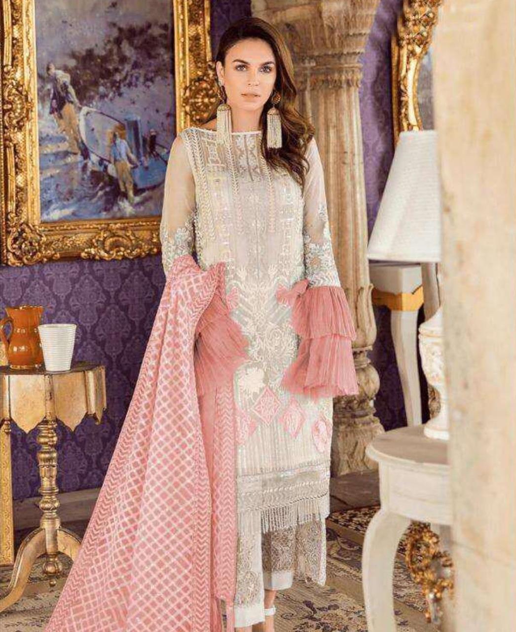 Zari Georgette Straight cut Salwar Kameez in Off White