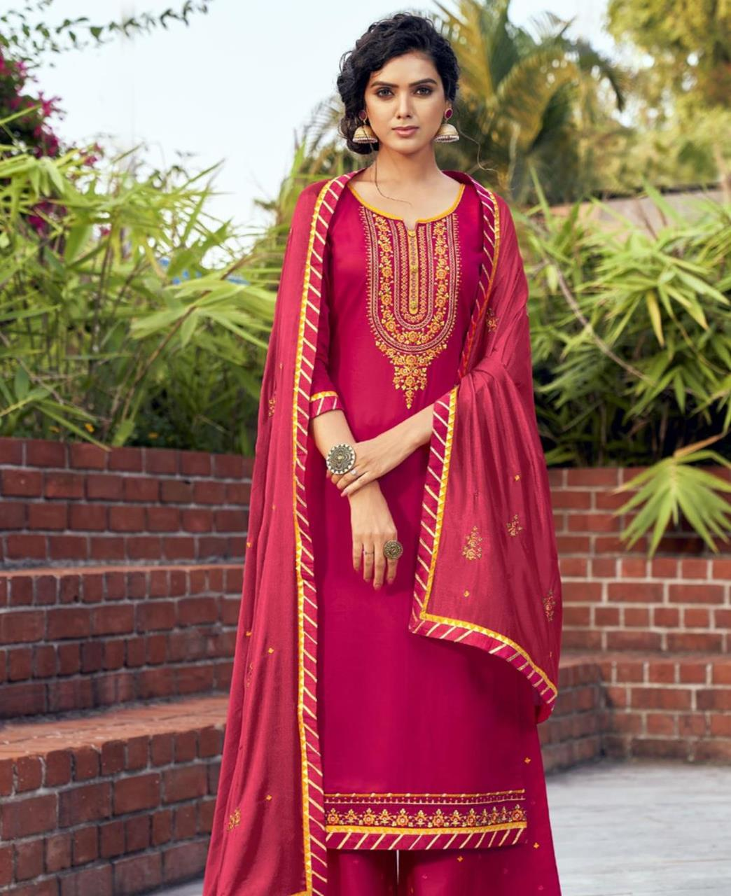 Embroidered Cotton Straight cut Salwar Kameez in Rani Pink