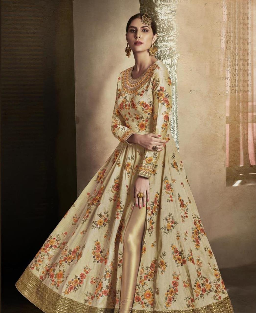 Embroidered Brocade Beige Abaya Style Salwar