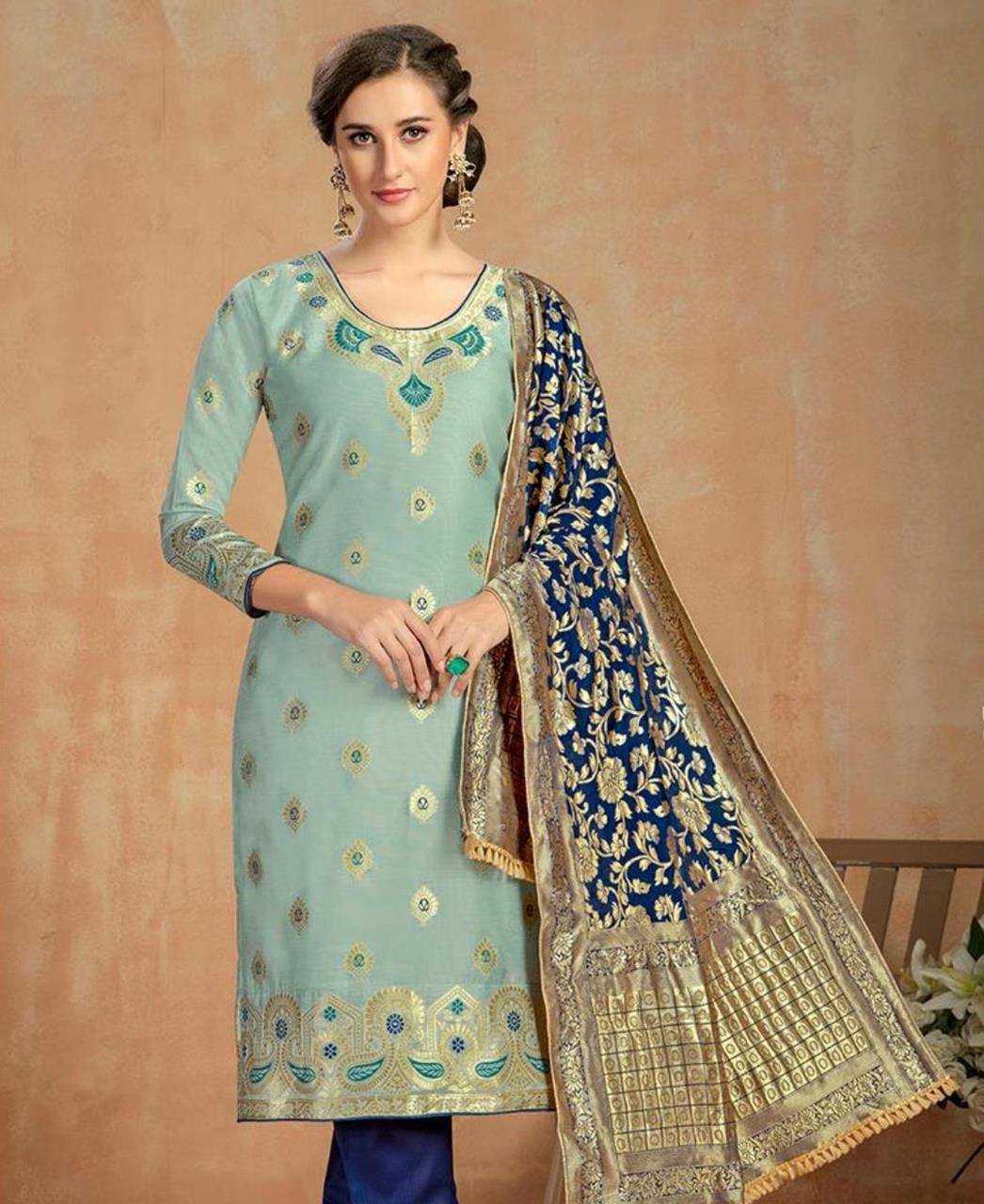 Cotton Straight cut Salwar Kameez in Pastel Green