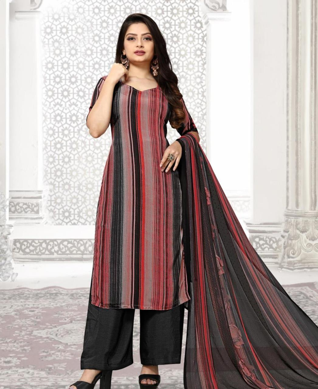 Printed Georgette Straight cut Salwar Kameez in Pink  ,  Black