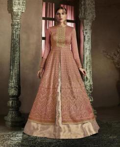 Embroidered Silk Straight cut Salwar Kameez in Rust