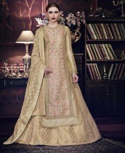 HandWorked Silk Abaya Style Salwar in Golden
