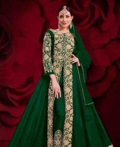 Stone Work Georgette Abaya Style Salwar in Green