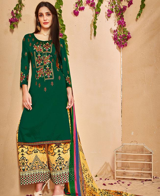 30d3e13e3ef Embroidered Cotton Green Palazzo Suit Salwar Kameez