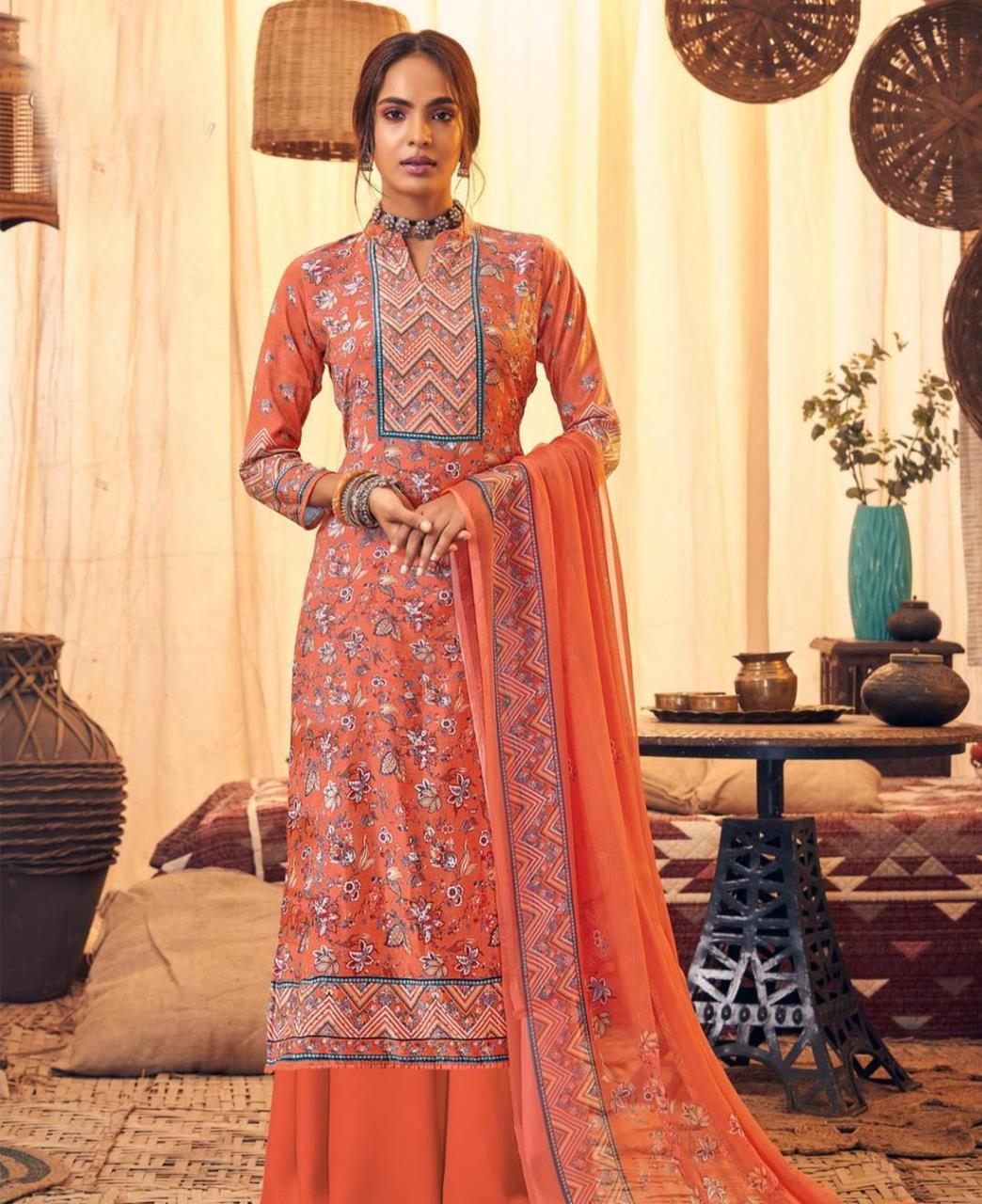 Printed Velvet Straight cut Salwar Kameez in Orange