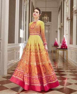 Embroidered Georgette Yellow Anarkali Salwar