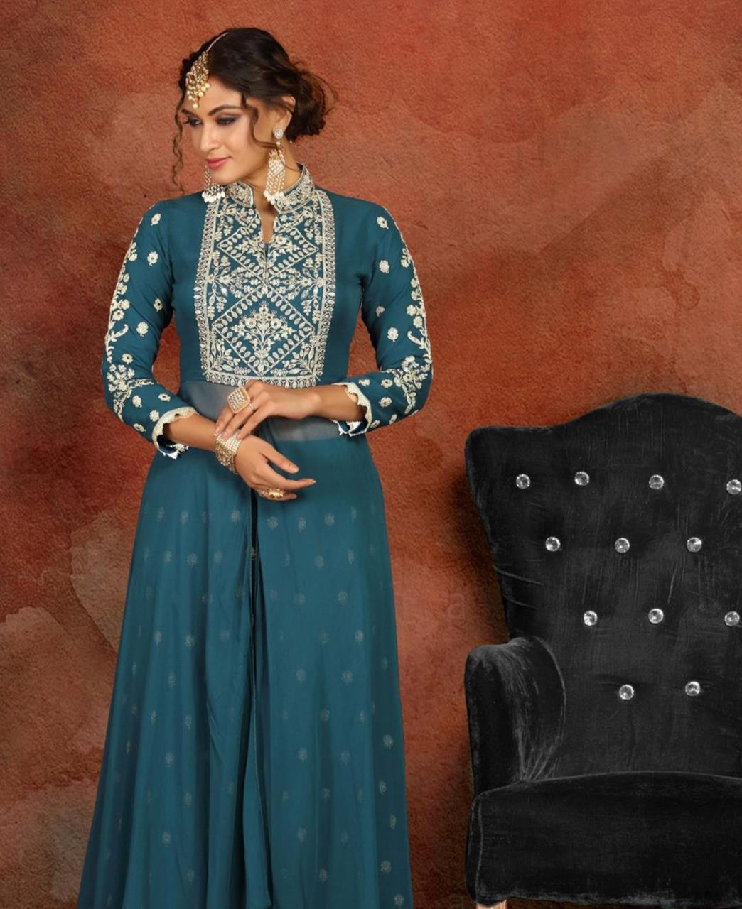 Embroidered Georgette Straight cut Salwar Kameez in Teal Blue