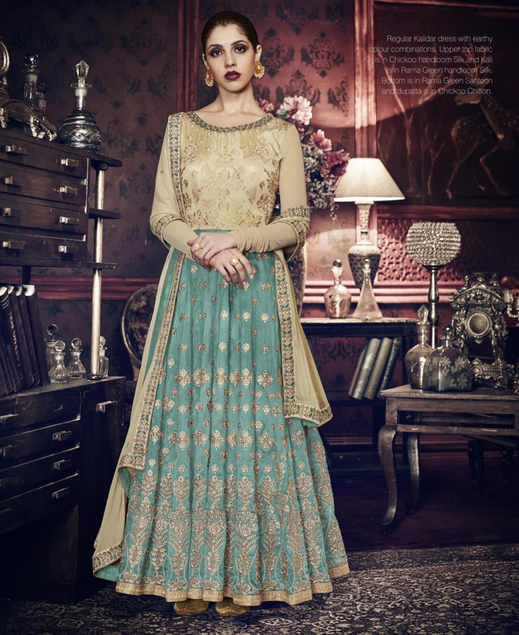 Embroidered Silk PeachPuff Abaya Style Salwar