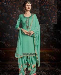 Printed Cotton Patiyala Suit Salwar in Sea Green