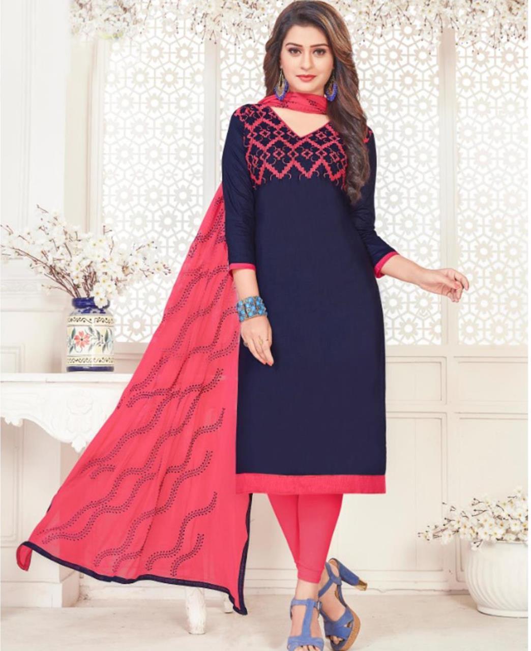 Embroidered Cotton Satin Navyblue Straight Cut Salwar Kameez