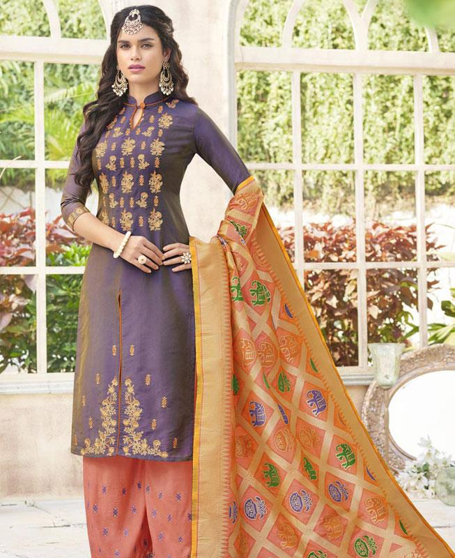 Embroidered Cotton Blue Palazzo Suit Salwar