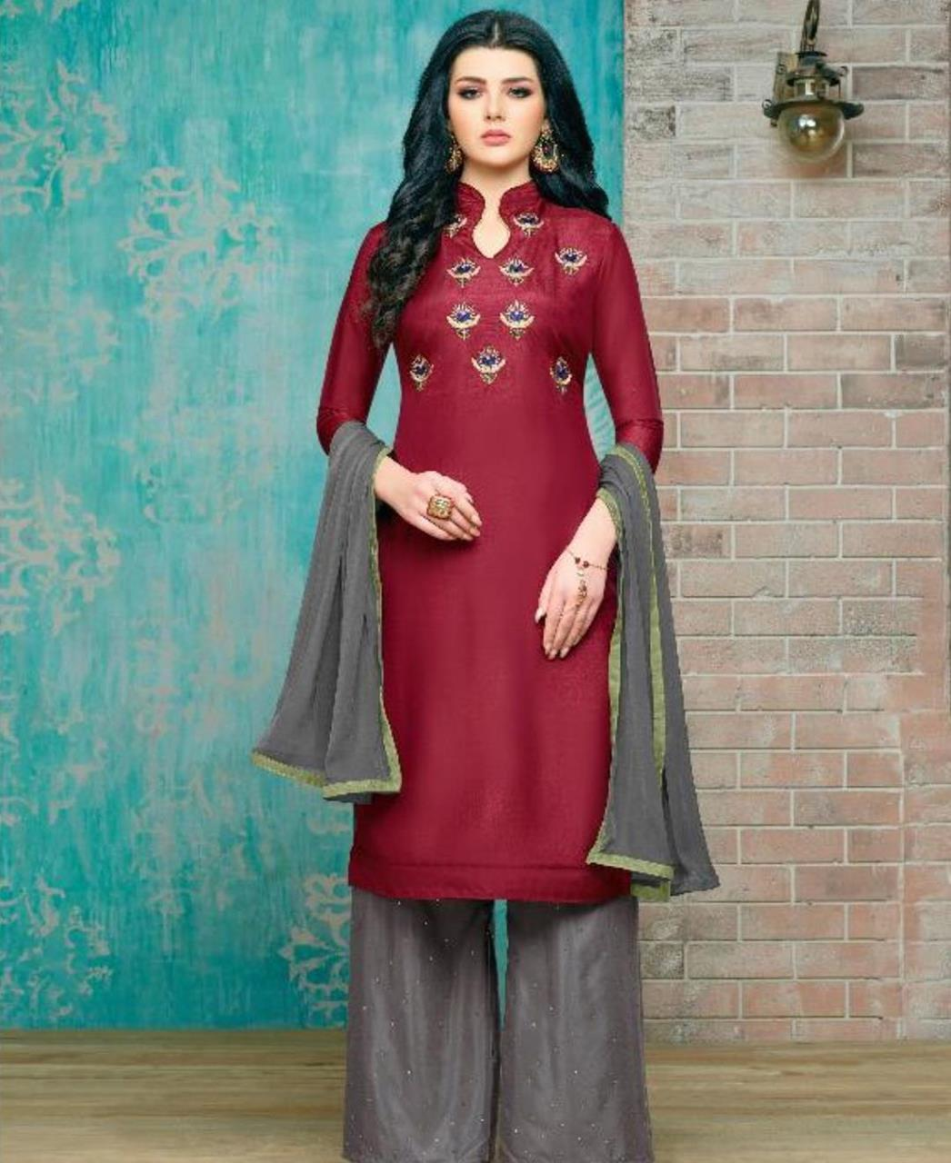 Embroidered Silk Maroon Palazzo Suit Salwar