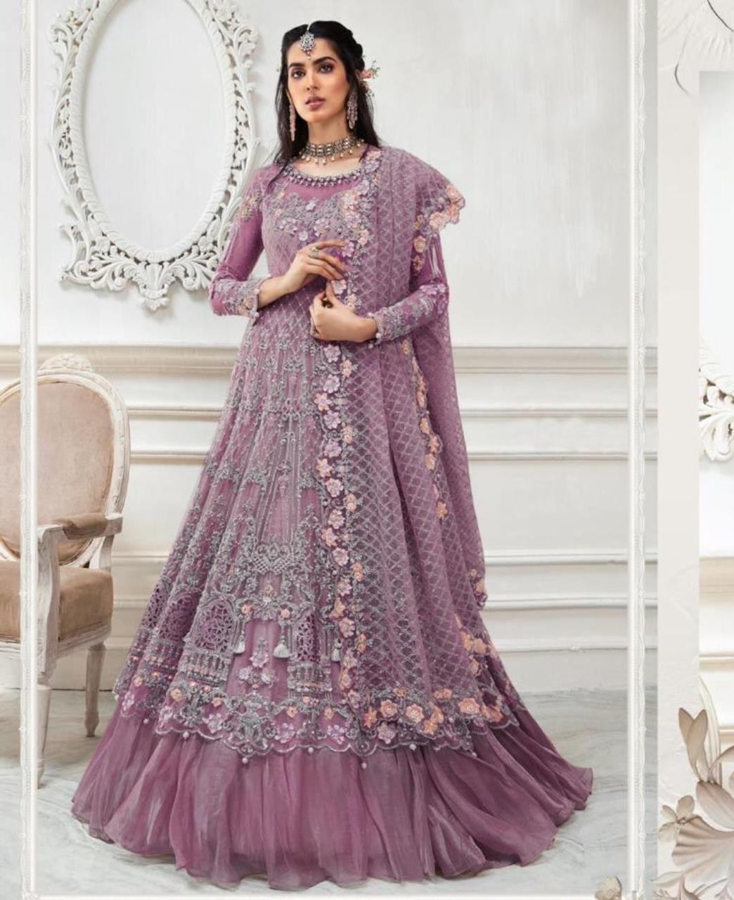 HandWorked Net Abaya Style Salwar in Purple