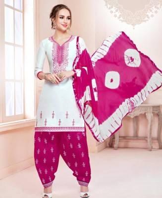 Printed Cotton White Patiyala Salwar Kameez