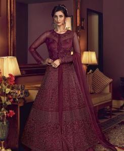 Sequins Silk Abaya Style Salwar in Dark Wine