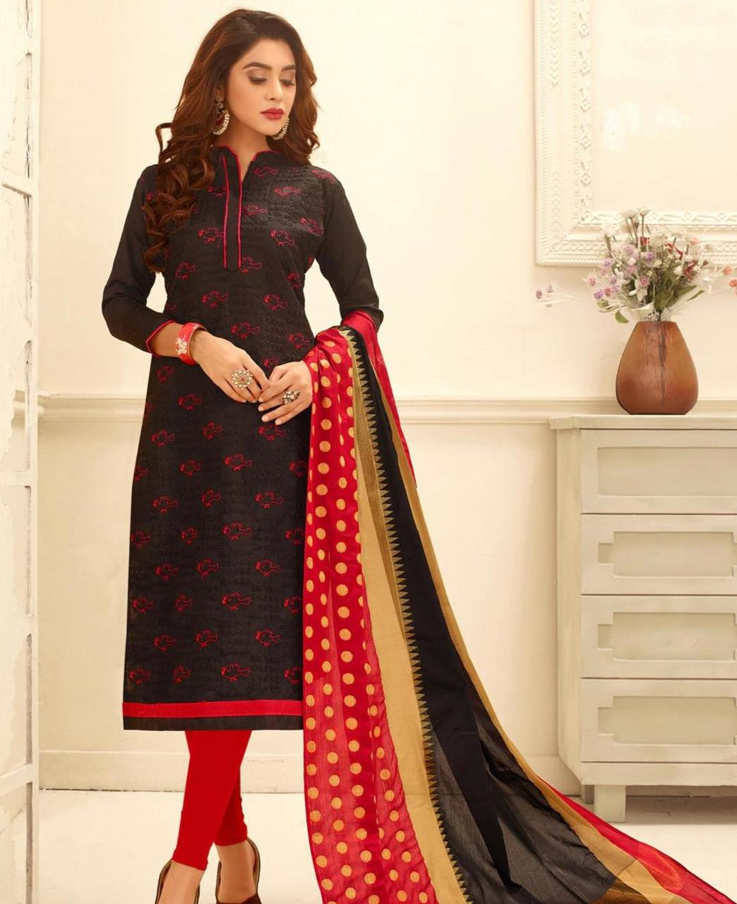 Embroidered Cotton Brown Straight Cut Salwar
