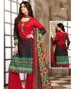 Printed Cotton Red Palazzo Suit Salwar