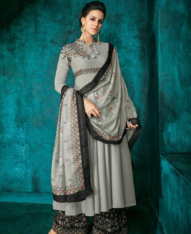 Embroidered Satin Gray Palazzo Suit Salwar