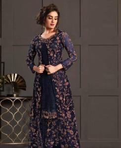 Zari Satin Abaya Style Salwar in Nevy Blue