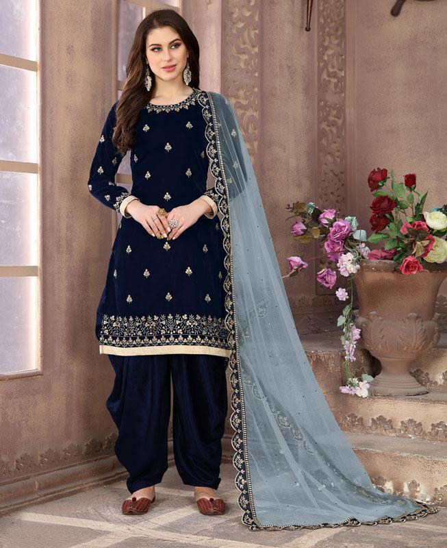 Embroidered Velvet Navyblue Patiyala Suit Salwar