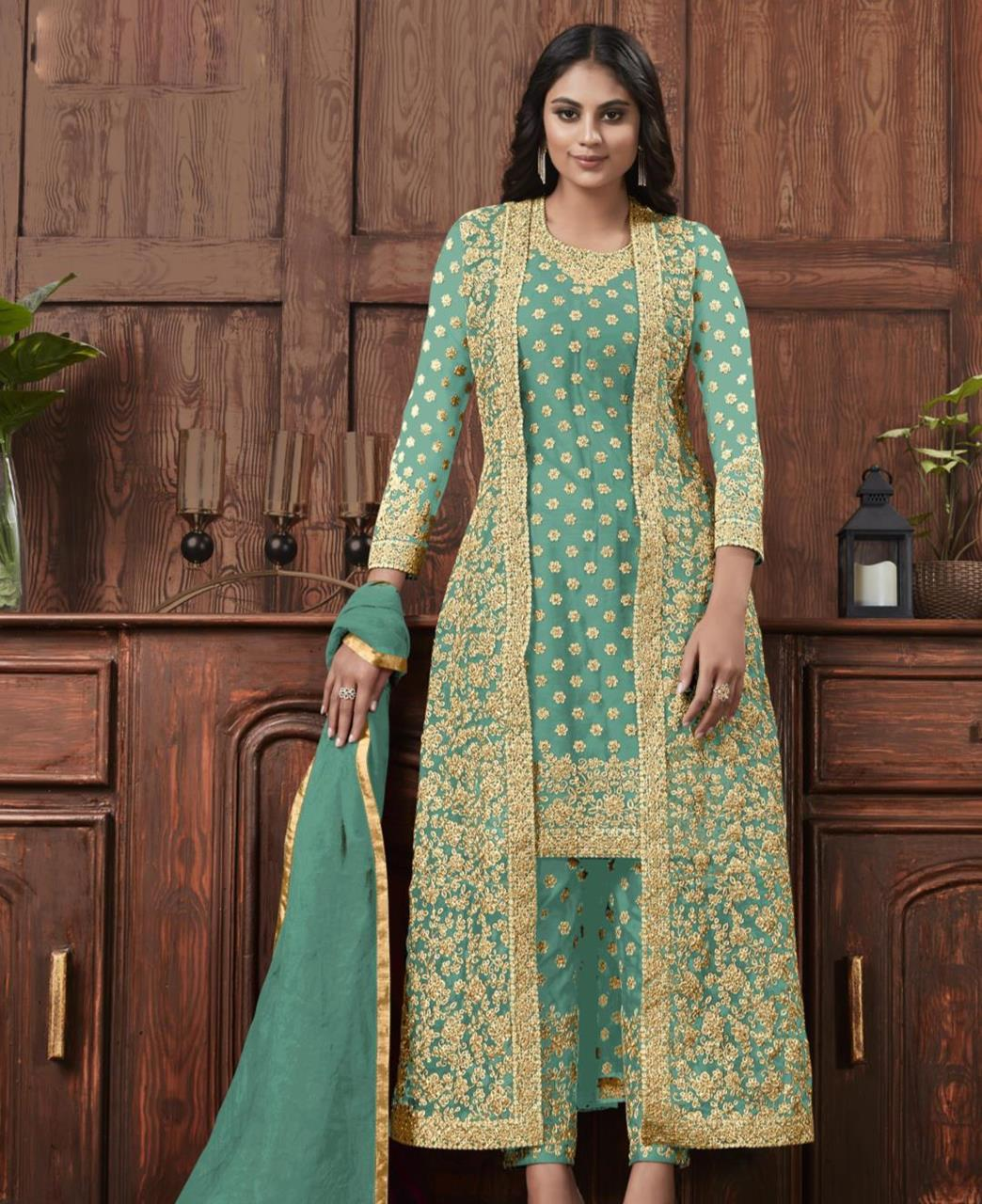 Satin Straight cut Salwar Kameez in Rama Green