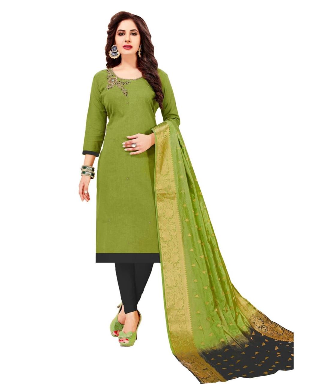 HandWorked Cotton OLIVE Straight Cut Salwar