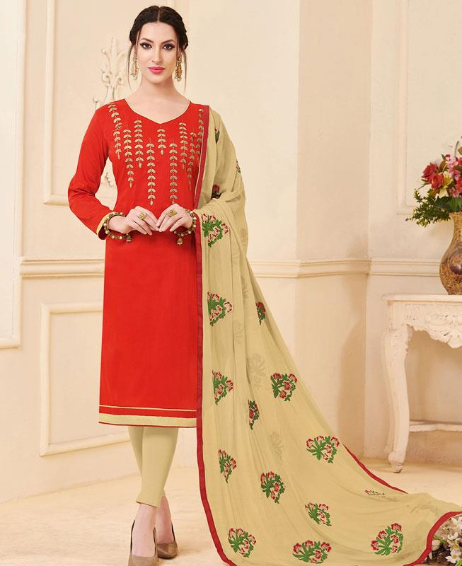 Embroidered Bangalore Silk Red Straight cut Salwar