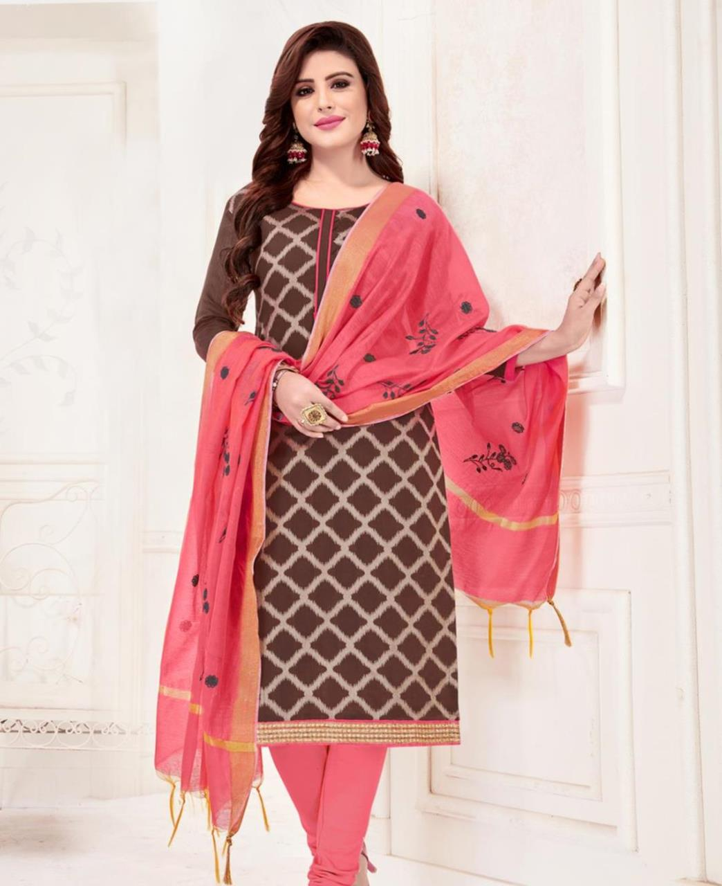 Embroidered Banarasi Silk Brown Straight Cut Salwar
