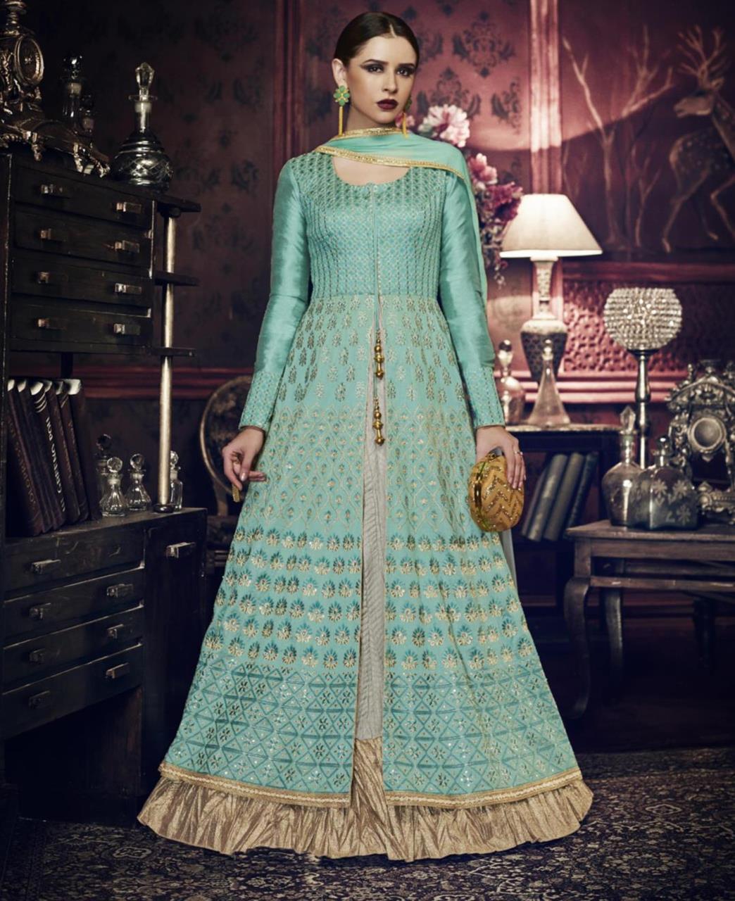Printed Silk Green Abaya Style Salwar