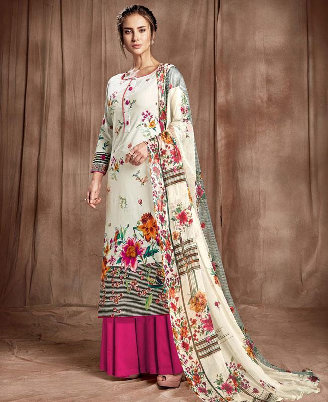 Printed Cotton Magenta Palazzo Suit Salwar