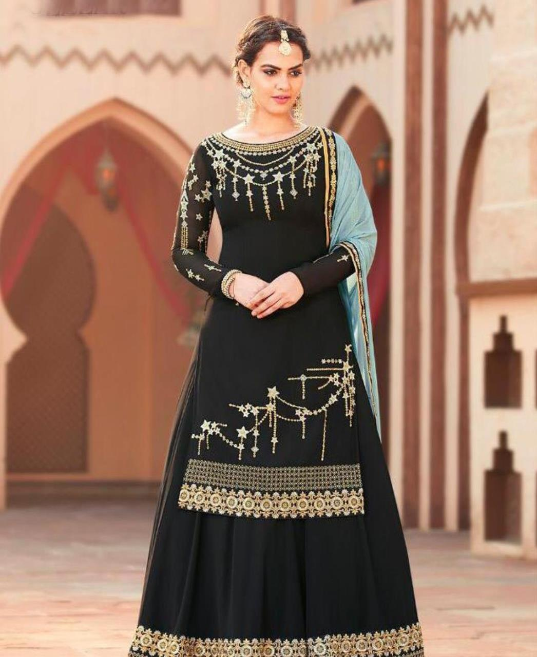 fe11c5cae2 Embroidered Georgette Black Palazzo Suit Salwar