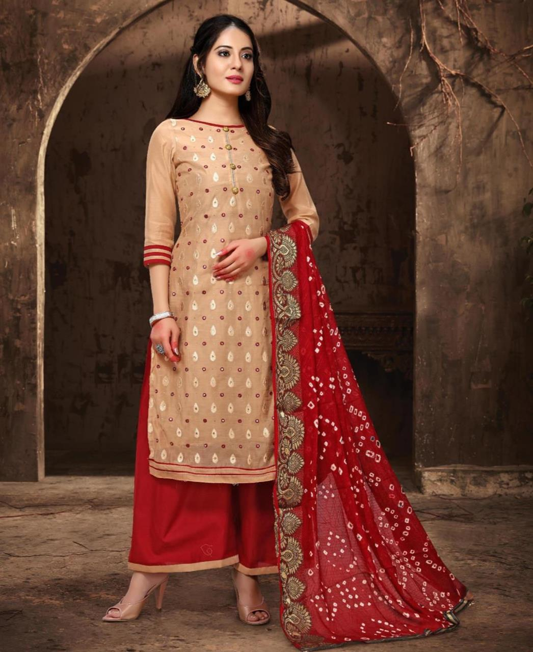 HandWorked Cotton Straight cut Salwar Kameez in Cream