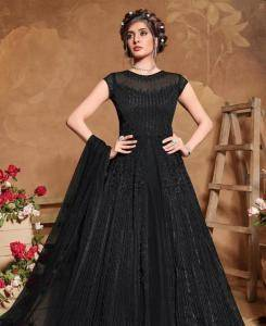 Embroidered Satin Abaya Style Salwar in Black
