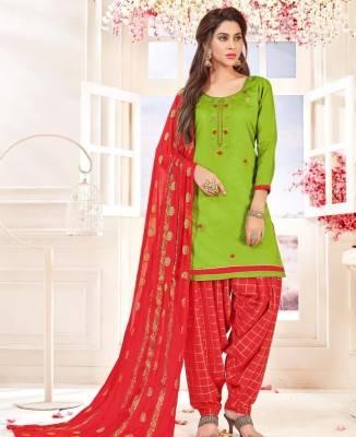 Embroidered Cotton Green Patiyala Salwar Kameez