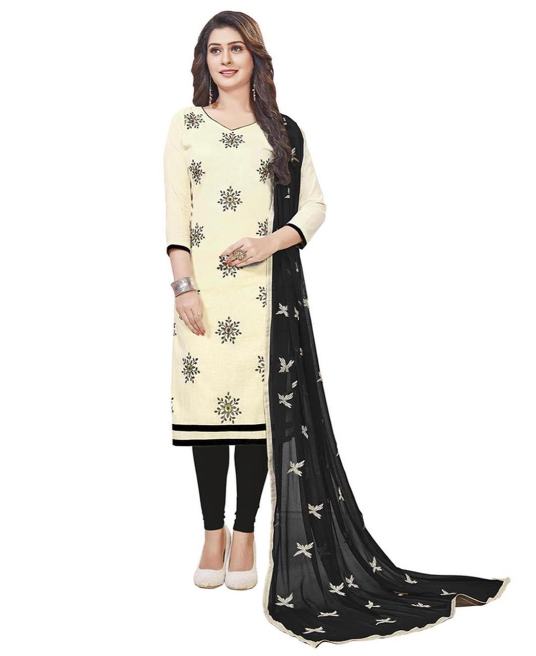 Embroidered Cotton Cream Straight Cut Salwar