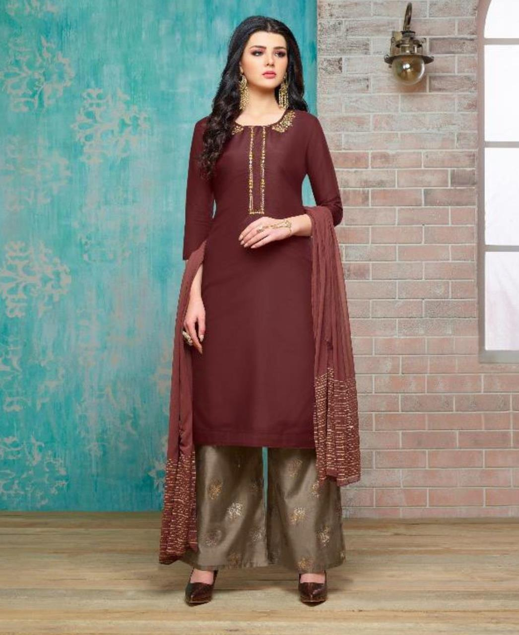 bce6b93c839 Embroidered Silk Maroon Palazzo Suit Salwar