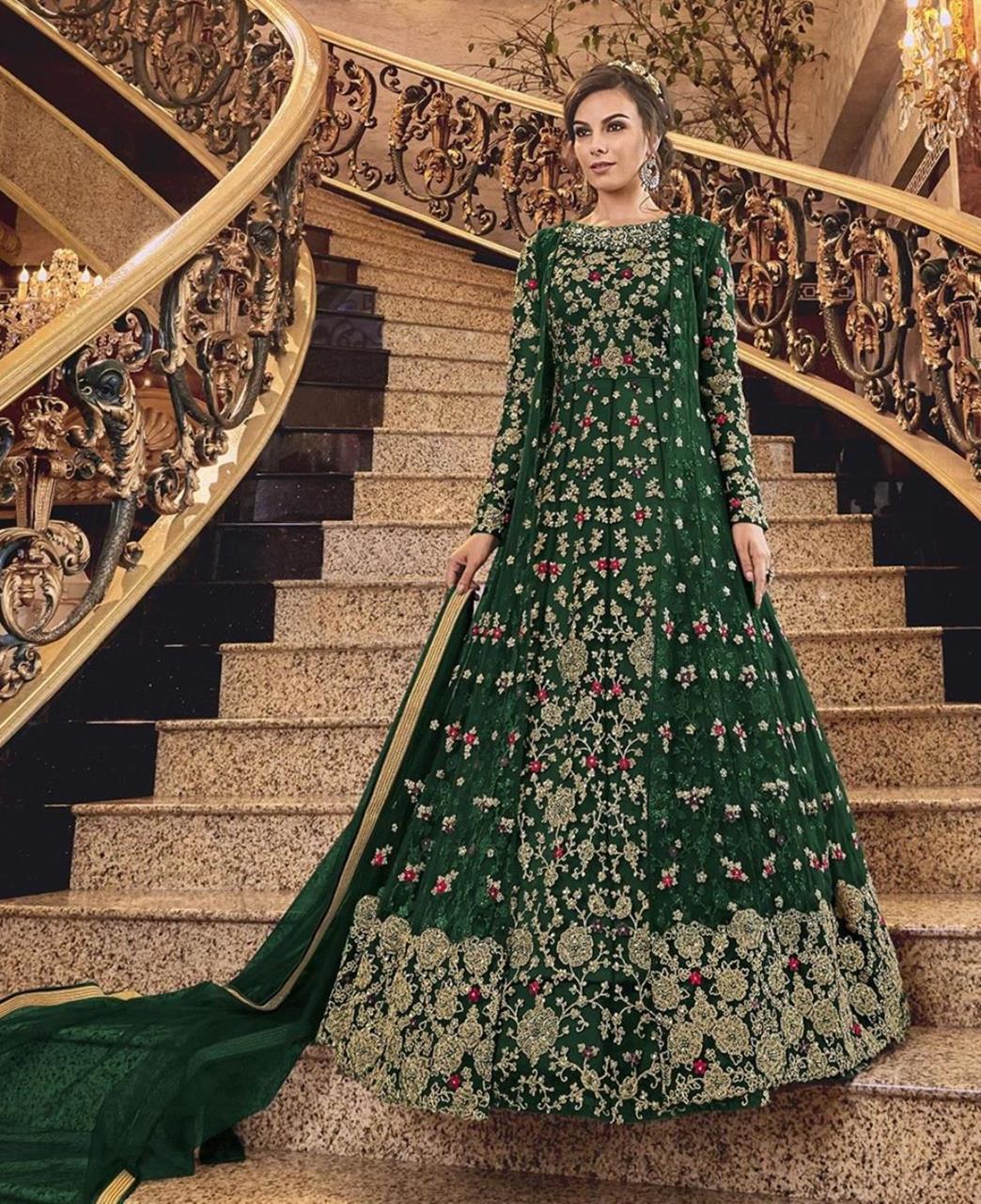 Stone Work Silk Abaya Style Salwar in Green