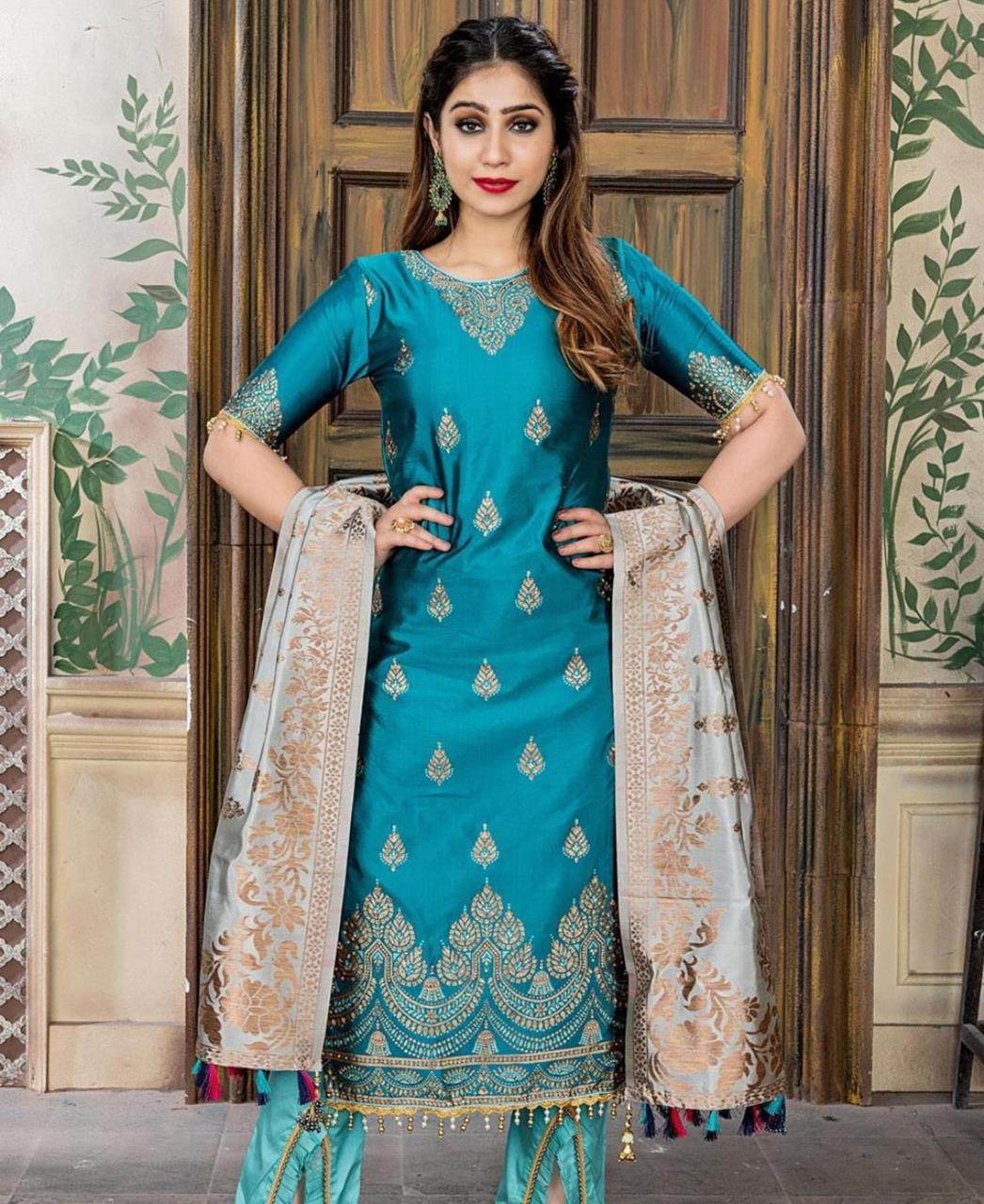 Embroidered Banarasi Silk Green Straight Cut Salwar