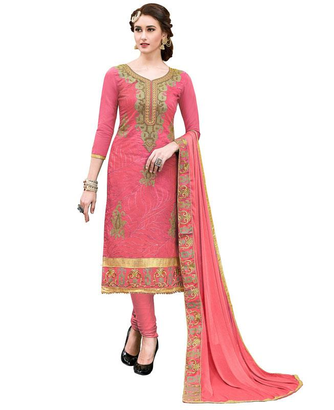 Embroidered Chanderi Red Straight cut Salwar