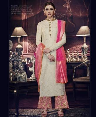 Embroidered Silk Offwhite Patiyala Salwar