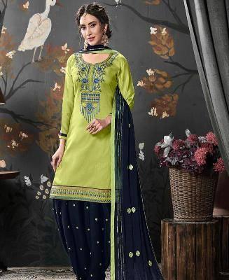 Embroidered Silk LimeGreen Patiyala Suit Salwar