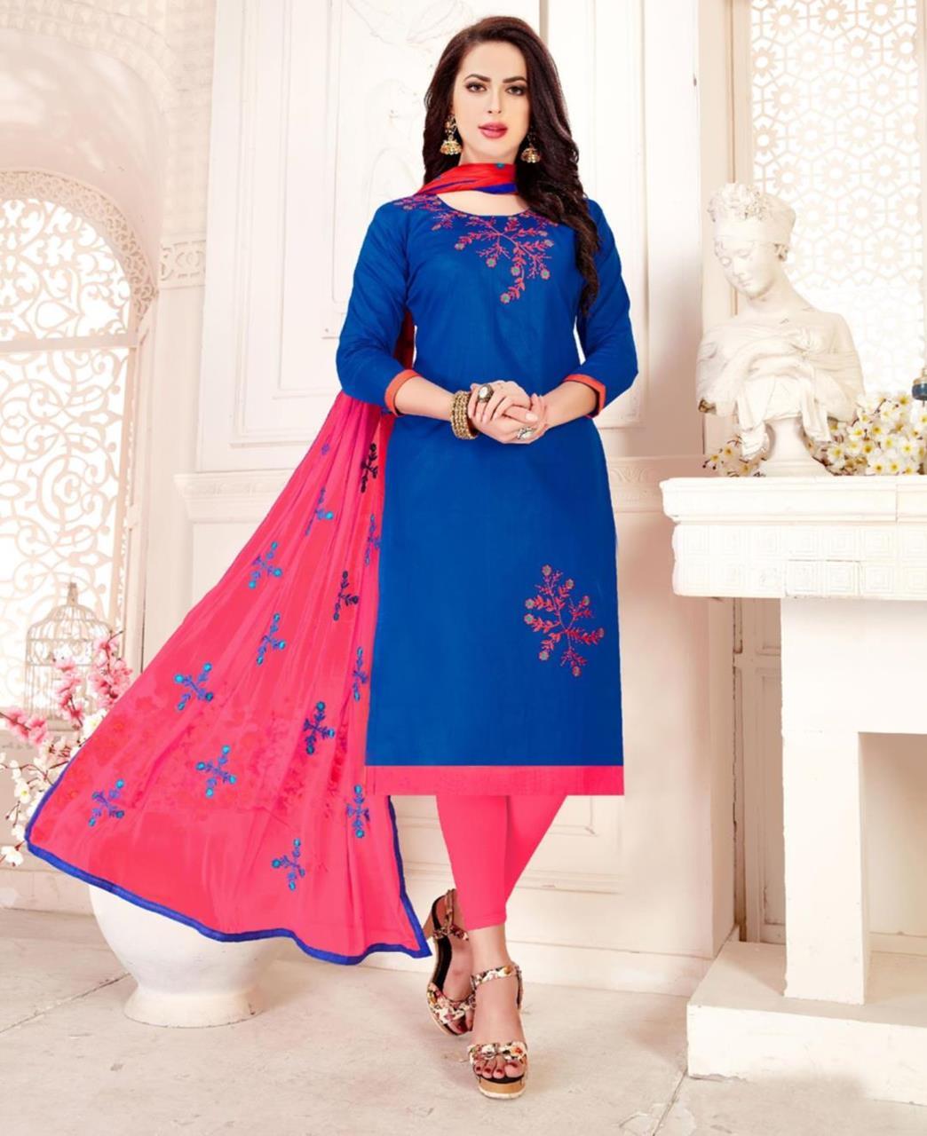 Embroidered Cotton Blue Straight Cut Salwar