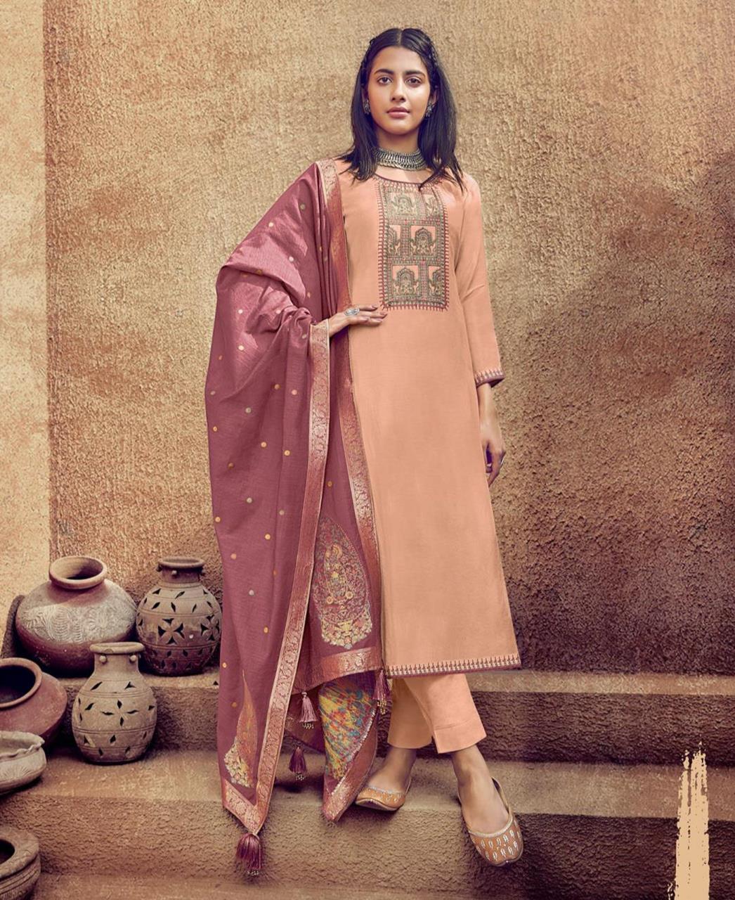Thread Cotton Straight cut Salwar Kameez in Light Orange